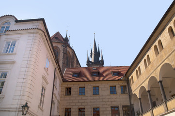 Quiet Square behind Our Lady before Tyn in Prague Czech Republic