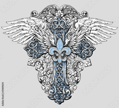 Fleur de lis Cross with Wings