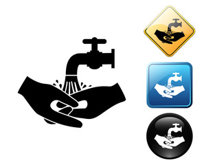 Hand wash pictogram and signs