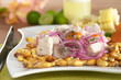 Peruvian ceviche out of raw mahi-mahi fish (Spanish: perico)