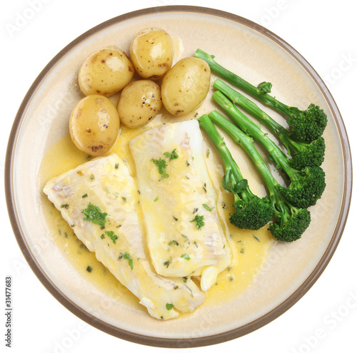 Baked Haddock Fish Fillets & Vegetables