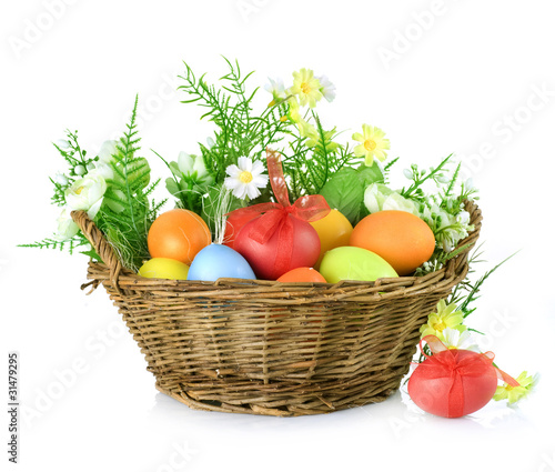 Easter Colorful Eggs in a Basket