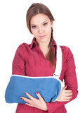 young woman with broken hand wearing an arm brace