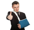 thumb up businessman with broken hand, series