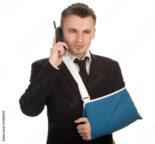 calling young businessman with broken hand, series