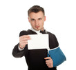 businessman with broken hand and blank card, series