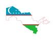 Uzbekistan flag on map