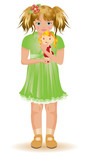 Little girl with red haired dolly, vector illustration