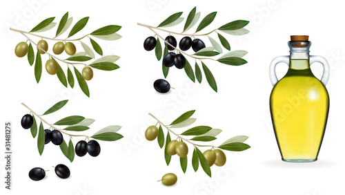 Big set with green and black olives and bottle of olive oil.