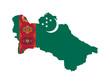 Turkemistan flag on map