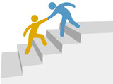 Progress collaboration help friend climb up improvement steps poster