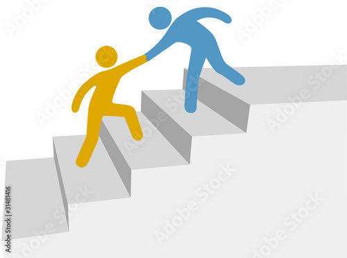 Progress collaboration help friend climb up improvement steps