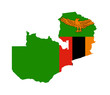Zambia flag on map