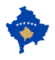 Kosova flag on map