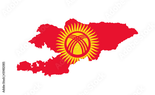 Kyrgyzstan flag on map
