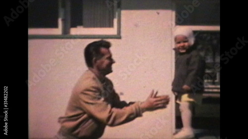Little Boy Jumps To His Dad (1963 - Vintage 8mm film)