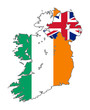 Ireland flag on map