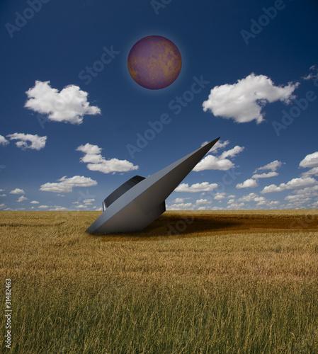 Foto op Canvas Crashed UFO