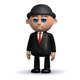 3d Banker stands relaxed poster