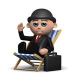 3d Banker relaxes in deckchair poster