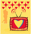 Love TV Icon simple oldfashioned and hug couple background