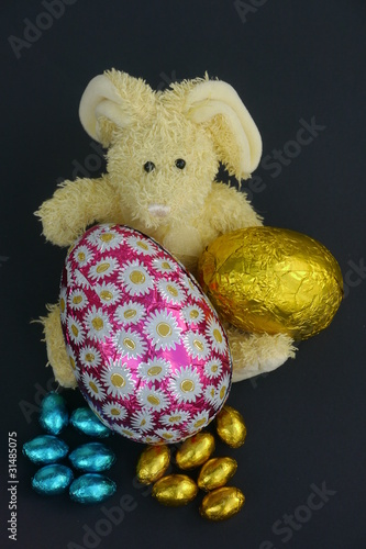 Toy Rabbit with a Easter Eggs