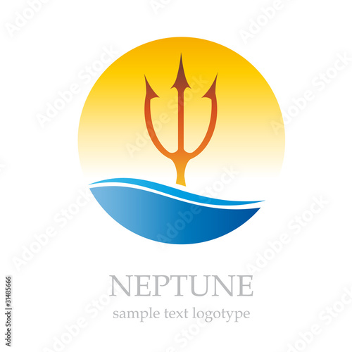 Logo Neptune and sun # Vector