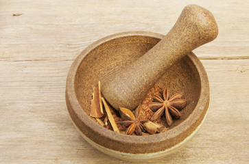 Spice in pestle and mortar