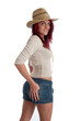 Sexy young red haired female in straw hat