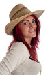 Cute young female in straw hat