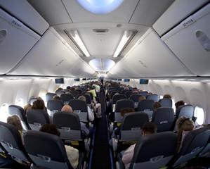 Kabine in einem Passagierflugzeug