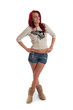 Cute female in shorts isolated against white