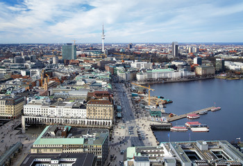 View of the Hamburg, lake Binnenalster and TV Tower, Germany
