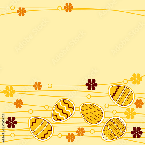 Yellow greeting card wirh different easter eggs