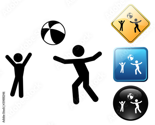 Playing beach ball pictogram and signs