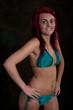 Cute red haired woman in bikini