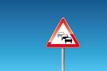 Verkehrszeichen 124 Stau PKW Autobahn