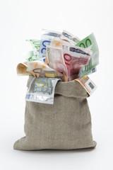 Geldsack mit Euro- Scheinen