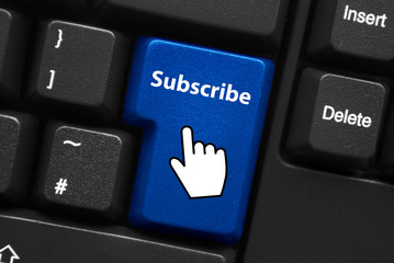 SUBSCRIBE Key on Keyboard (register sign up join now web button)