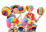 family with rainbow hat umbrella on head and colorfull ball