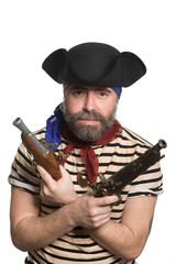 Terrible bearded pirate in tricorn hat