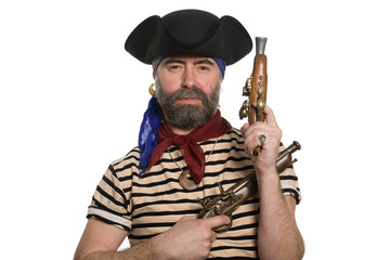 Bearded pirate in tricorn hat with a muskets.