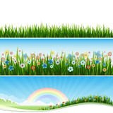 Fototapety Thre Spring banners with grass, flowers and sun.