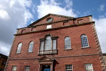 Red Brick Chapel in Yorkshire under a blue sky