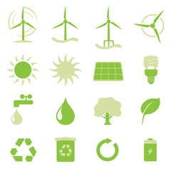 Vektor Iconset - Buttons Erneuerbare Energien