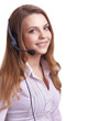 Beautiful young laughing cheerful woman with headphones with mic