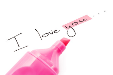 The words I love you with focus on you