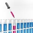 Reagenzgläser mit Pipette - Reaktion - Pink - Blau