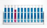 12 Reagenzgläser - Reaktion - Pink - Blau - Chemie