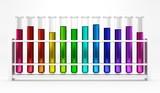 12 Reagenzgläser - Regenbogen - Farben - Bunt - Chemie
